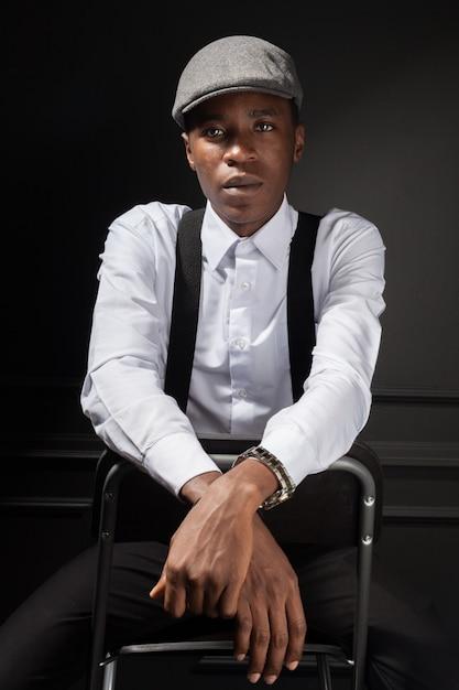 Smiling happy dark skinned stylish male Premium Photo