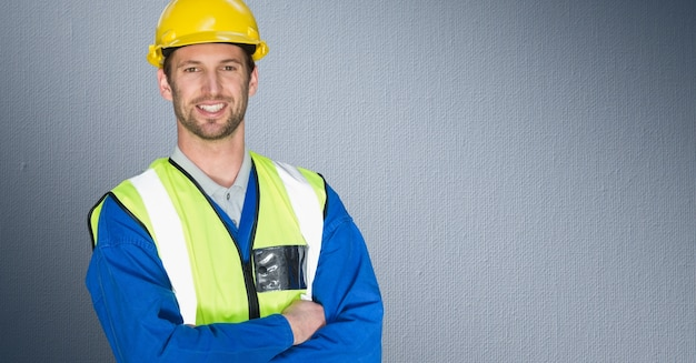smiling hard hat young adult stress using Free Photo