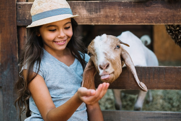 Smiling portrait of a girl feeding goat in the barn Free Photo