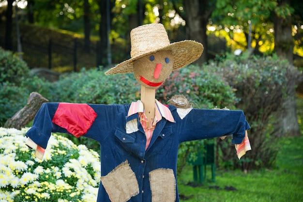 Усмехаясь чучело в огороде в сельской местности. Premium Фотографии
