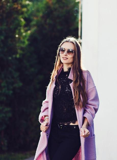 Smiling woman in autumn coat Premium Photo