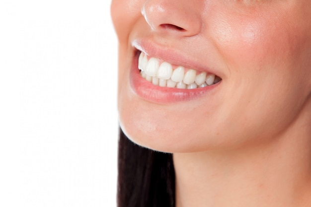 Smiling woman mouth with great teeth Premium Photo