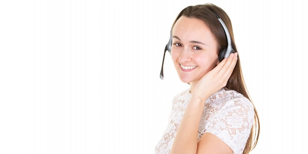 Smiling woman wearing microphone headset in call center banner Premium Photo