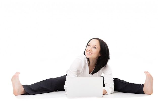 Smiling woman with her open legs Free Photo