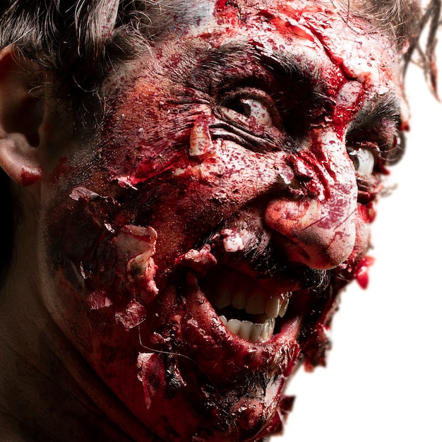 Smiling zombie face Free Photo