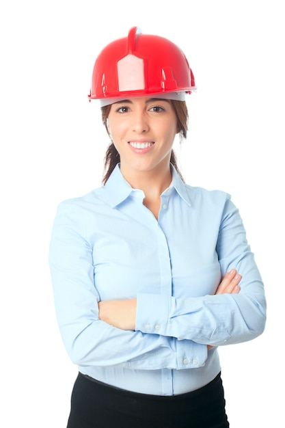 Smily woman with red helmet Free Photo