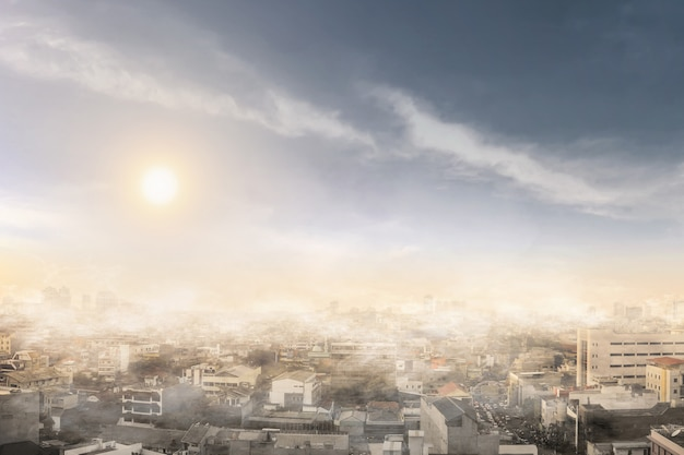 Smoke and air pollution on one day Premium Photo