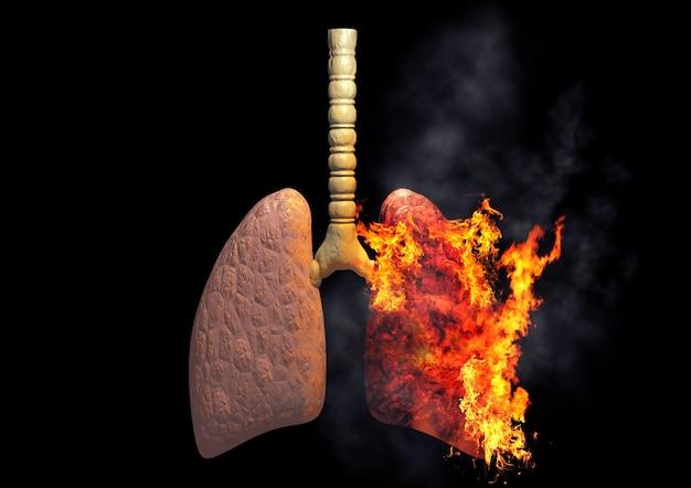Легкие курильщика горят от чрезмерного употребления сигарет. понятие о болезнях и раке, вызванных курением. 3d рендеринг Premium Фотографии