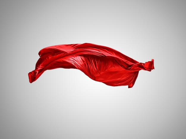 Smooth elegant transparent red cloth separated on gray background. Free Photo