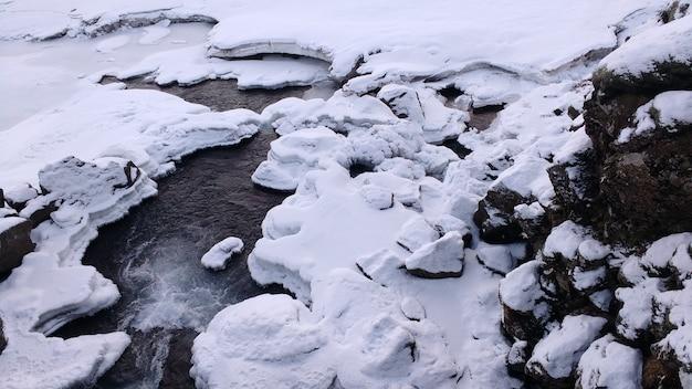 凍った川に沿って雪が降る 無料写真