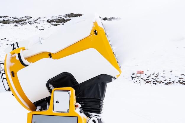 Snow cannon in operation in sierra nevada Premium Photo