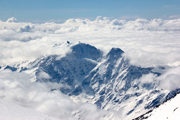 Snow-covered mountain with glacier Premium Photo