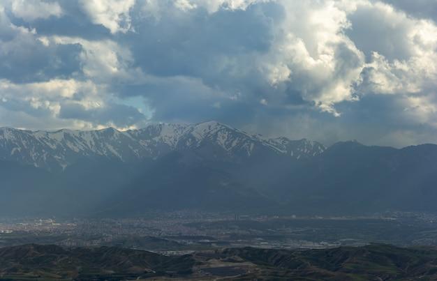 Snow mountain range landscape with blue sky from turkey. Premium Photo