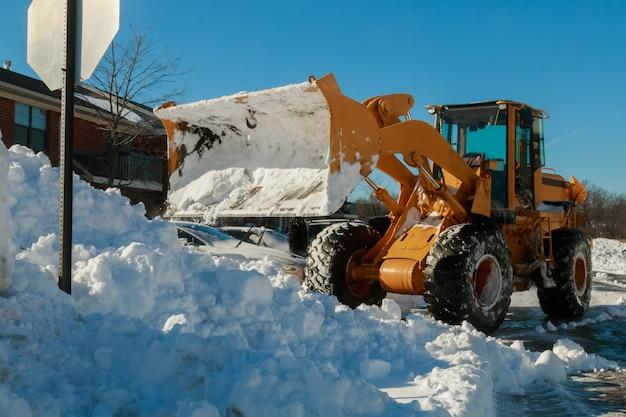Snow removal vehicle removing Premium Photo