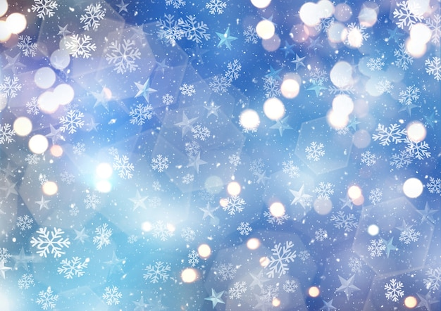 Snow Scene With Snowflakes Photo Free Download