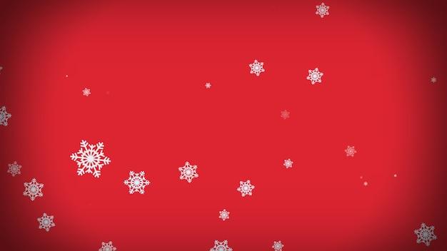 Снежинки падают на красном фоне. рождество, праздник, зима, новый год, снежинка, праздничный фон 3d-рендеринга Premium Фотографии