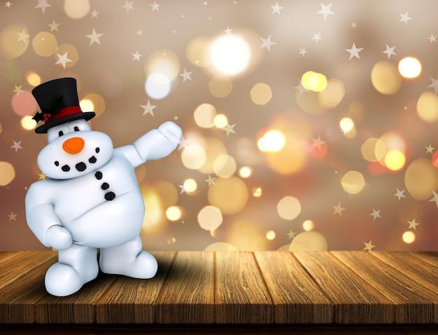 Snowman on wood Free Photo