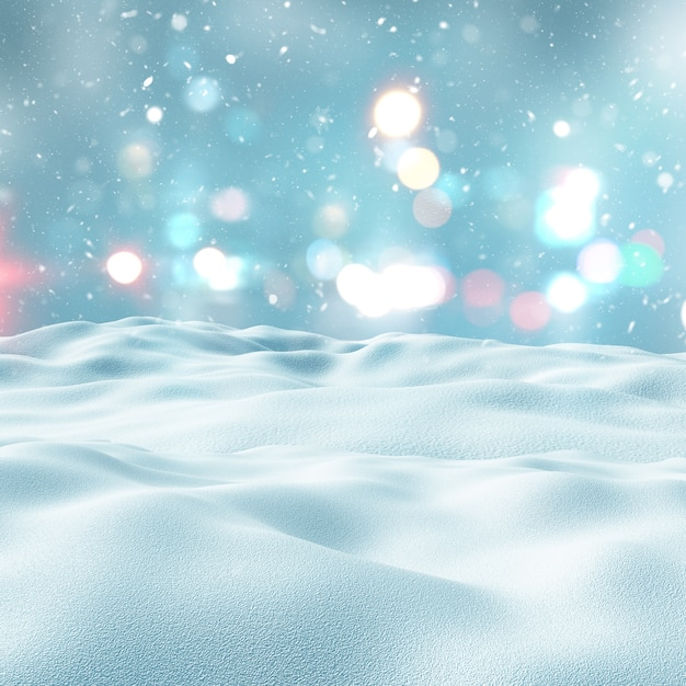 Snowy landscape with bokeh lights Free Photo
