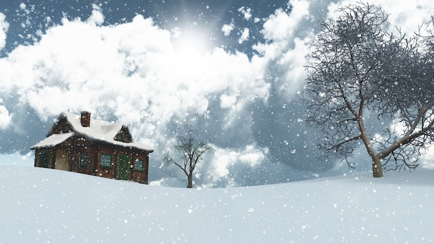 Snowy landscape with house and trees Free Photo