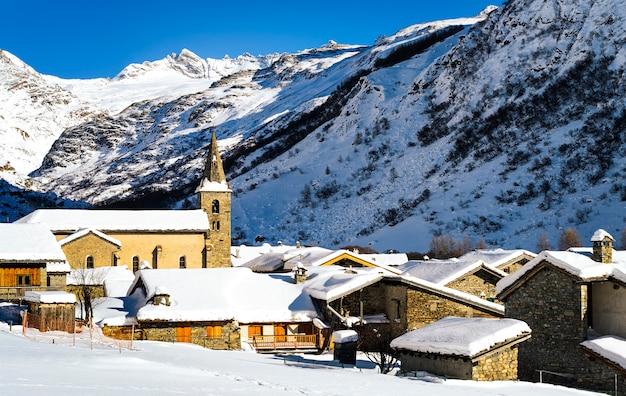 Snowy village in winter landscape Premium Photo