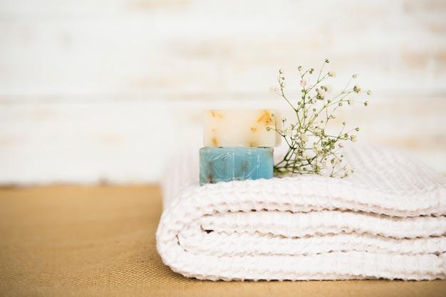 Soap on towel Free Photo