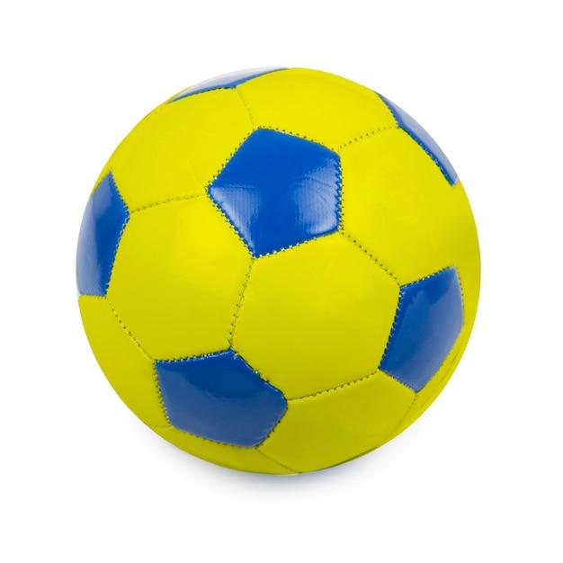Футбольный мяч в цветах флага украины на белом Premium Фотографии