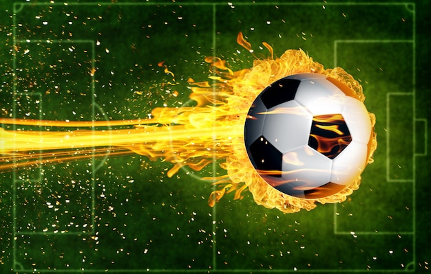 Soccer ball in fire flames Premium Photo