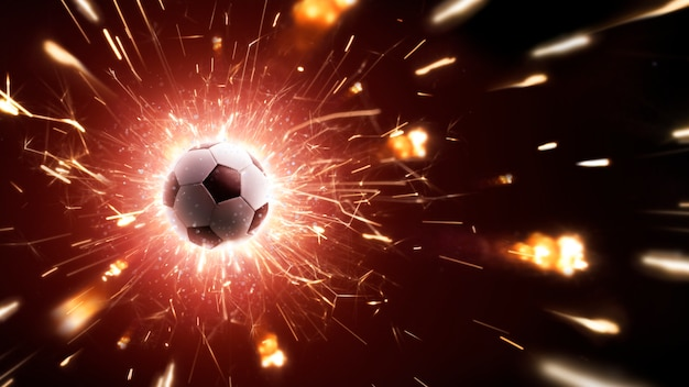Soccer ball in fly. soccer background with fire sparks in action on the black. panorama Premium Photo
