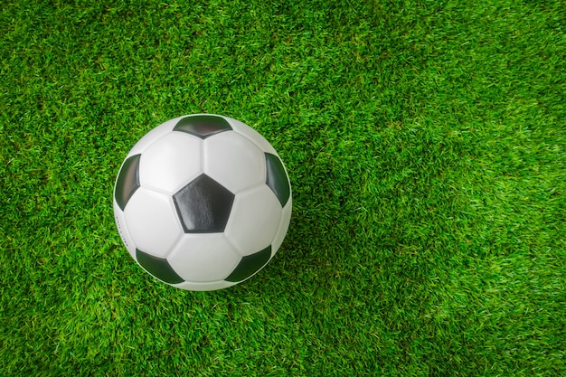 Soccer ball on green grass . Free Photo