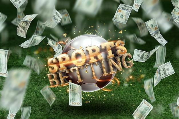 芝生の上のサッカーボールと碑文のスポーツ賭博。創造的な背景、ギャンブル。 Premium写真
