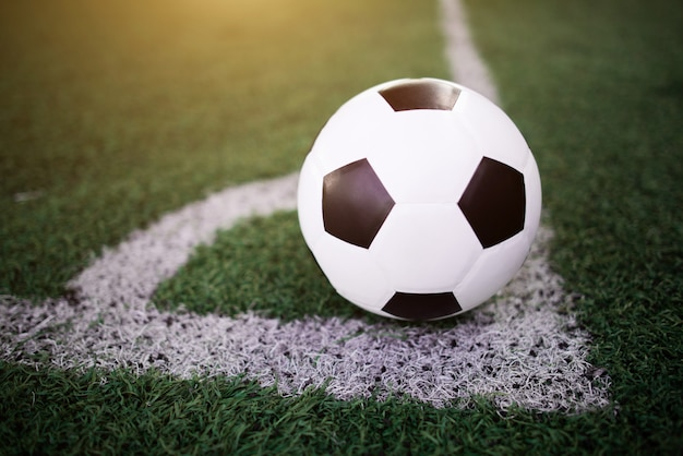 Soccer ball on the white line at stadium Free Photo