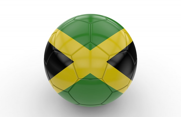Soccer ball with jamaican flag Premium Photo