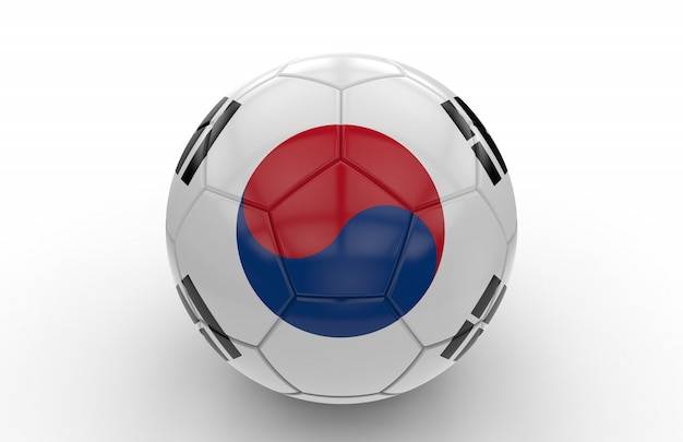 Soccer ball with south korea flag Premium Photo