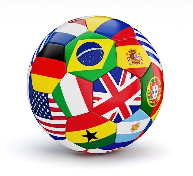分離された世界の国のフラグとサッカーボール Premium写真