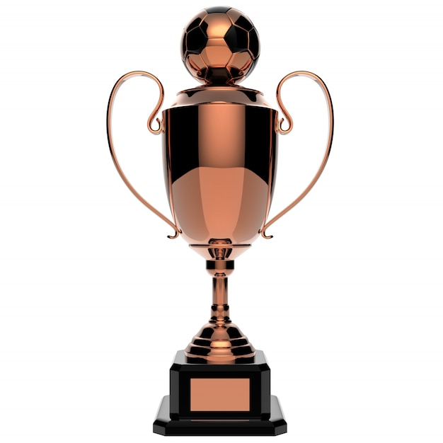 Soccer copper award trophy isolated on white with clipping path Premium Photo