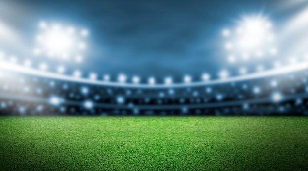 Soccer field and spotlight background in the stadium Premium Photo