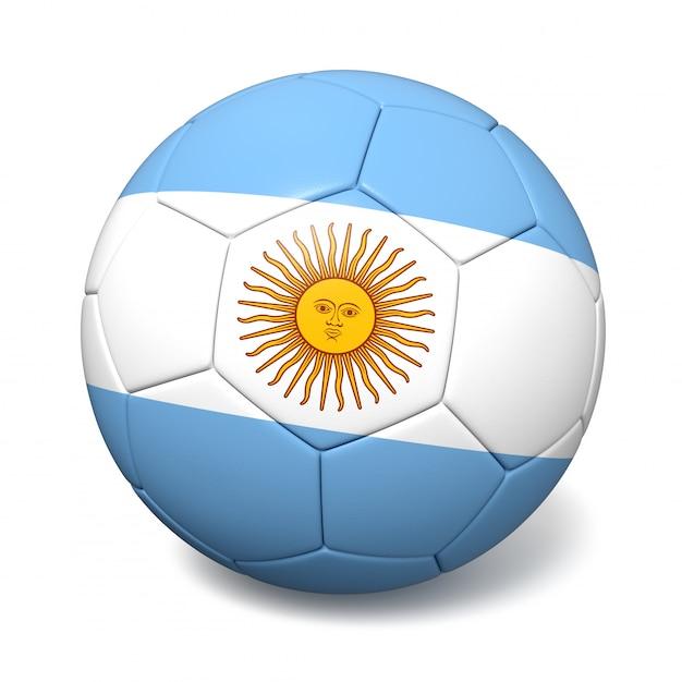 Футбольный футбольный мяч с флагом аргентины Premium Фотографии