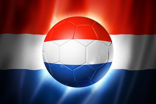 オランダの国旗とサッカーサッカーボール Premium写真