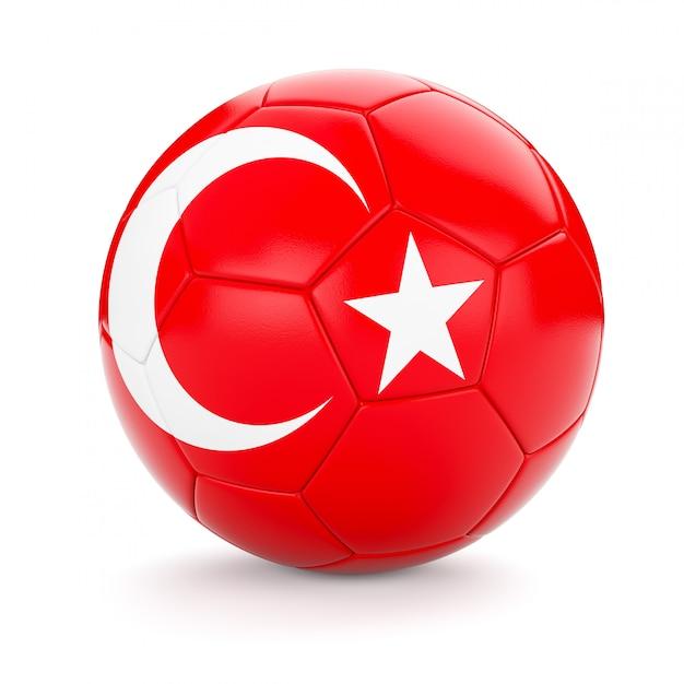Футбольный мяч с флагом турции Premium Фотографии