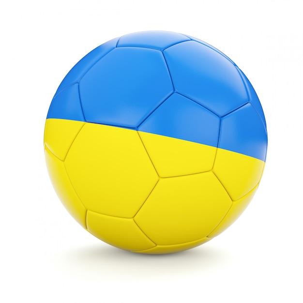 Футбольный футбольный мяч с флагом украины Premium Фотографии