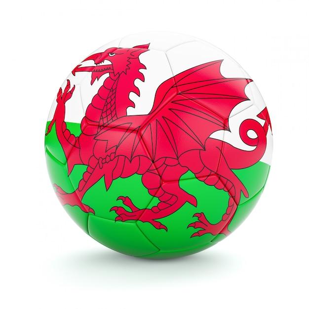Футбольный мяч с флагом уэльса Premium Фотографии
