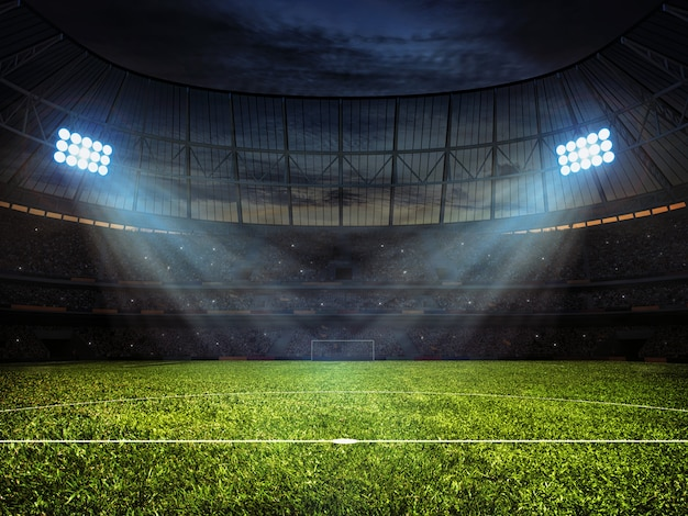 Soccer football stadium with spotlights Premium Photo