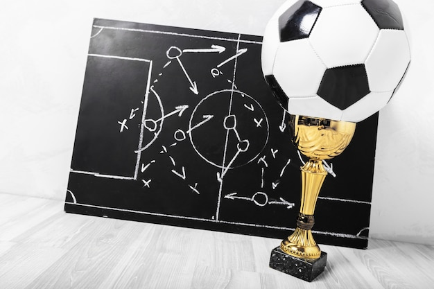Soccer plan chalk board with formation tactic Premium Photo