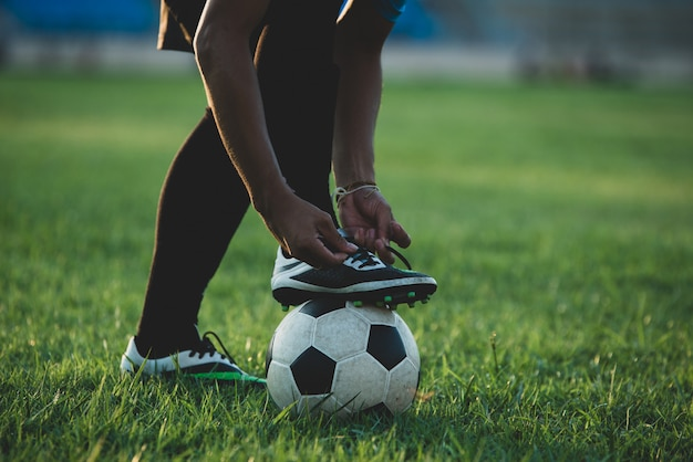 Soccer player action on the stadium Free Photo