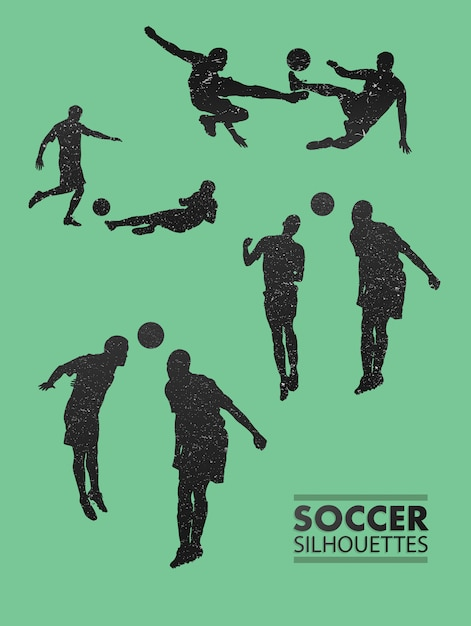 Soccer silhouettes in green vector Premium Photo
