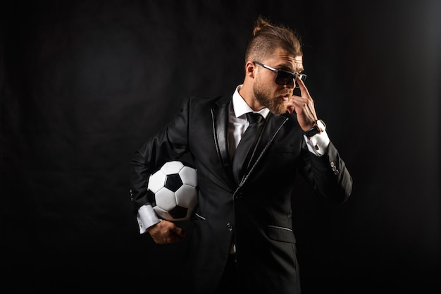 Soccer sport manager in business suit Premium Photo