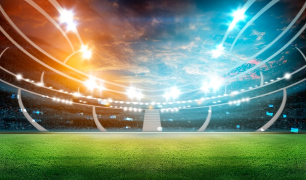 Soccer stadium with illumination Premium Photo