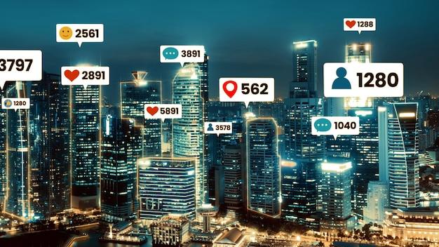ソーシャルメディアのアイコンが街のダウンタウンを飛び回り、人々のエンゲージメントのつながりを示しています Premium写真