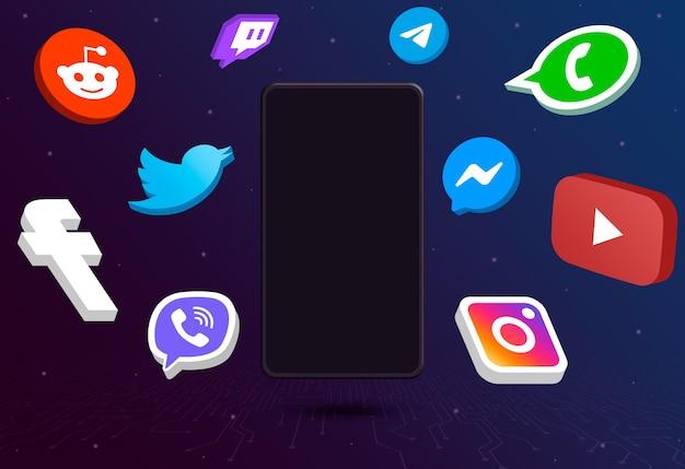 Значки логотипа социальных сетей вокруг телефона с пустым экраном на техническом фоне 3d Premium Фотографии