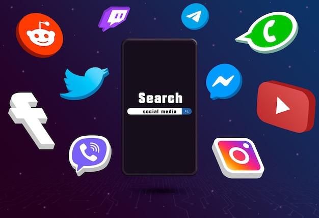 Значки логотипа социальных сетей вокруг телефона с панелью поиска на техническом фоне 3d Premium Фотографии